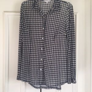 CAbi Navy/Cream checked blouse